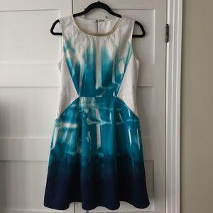 Elie Tahari blue ombré fit and flare dress 8